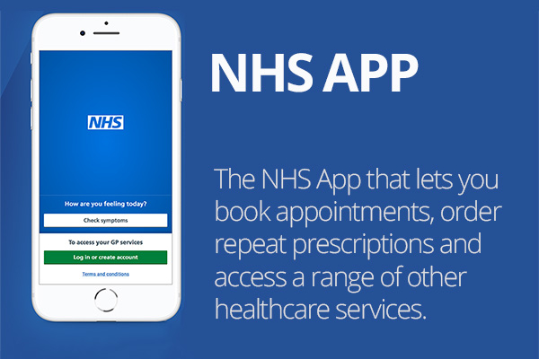 NHS App. Book appointments, order repeat prescriptions and access a range of other healthcare services